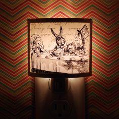 Mad Tea Party hatter Alice in Wonderland Tenniel Cute Nursery Bathroom hallway Bedroom Get It nightlight Nite Lite. $22.00, via Etsy.