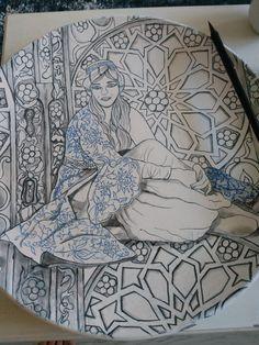 Turkish Tiles, Turkish Art, Islamic Art Pattern, Pattern Art, Plate Design, Craft Work, Islamic Calligraphy, Arabesque, Ceramic Art