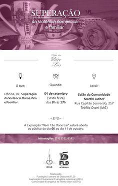 Convite Nem Tão Doce Lar, Superação da Violência doméstica e familiar, Convite, FLD, IECLB