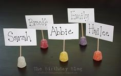 placeholders - gingerbread party, tea party, candy party...