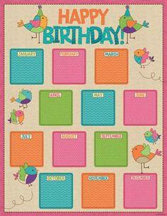 Bebop Birdie Birthday Chart - A little birdie told us you're in need of… Birthday Chart For Preschool, Birthday Chart Classroom, Classroom Charts, Birthday Charts, Preschool Classroom, Classroom Themes, Kindergarten, Classroom Displays, Birthday Calendar