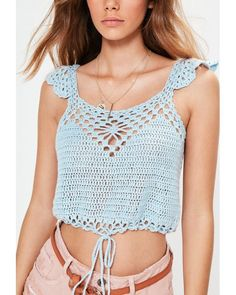 Missguided | Blue Tie Hem Crochet Knitted Crop Top | Lyst