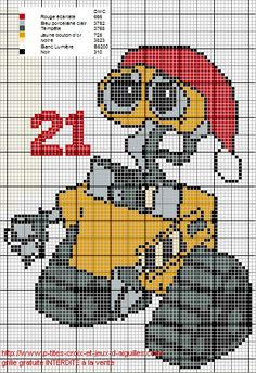 Voici Wall.e pour le 21eme jour du calendrier de l'Avent. Xmas Cross Stitch, Cross Stitch Charts, Cross Stitch Embroidery, Christmas Charts, Christmas Cross, Stitch Disney, Cross Stitch Alphabet Patterns, Cross Stitch Numbers, Stitch Cartoon