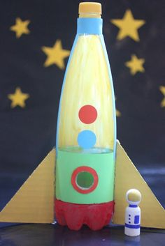 Rocket Ship made from plastic bottle and peg doll astronaut