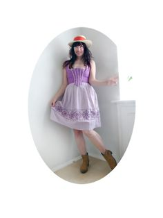 short preppy Dirndl in Lavender German folk dress by #SuitcaseInBerlin