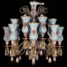 Ceiling Chandeliers 12 Arms Turquoise Crystal Embroidery