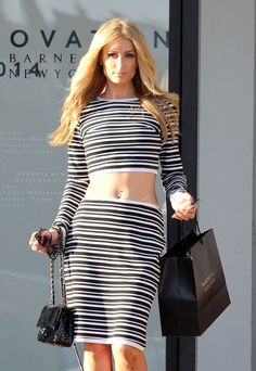 Hot Sexy Black White Striped Skirt Set