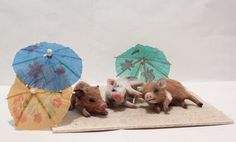 OOAK Miniature Pig Piggies on the beach by Malga by malga1605