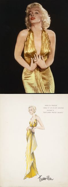 Marilyn Monroe's gold lamé gown from 'Gentlemen Prefer Blondes' (1953). Costume Designer: Travilla