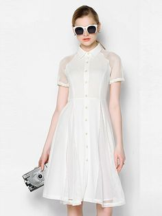 White,Mesh Insert,Short Sleeve,Midi Shirt Dress
