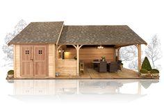 Detached Garage Designs, Rock Steps, Small Cottage Homes, Pergola Designs, Real Wood, Log Homes, Cottages, Backyard, Cabin
