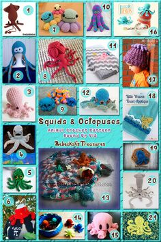 Squids & Octopuses - Animal Crochet Pattern Round Up (free & pay) via @beckastreasures