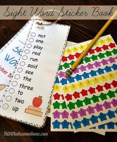 This sight word sticker book is a great tool for tracking sight words mastered and motivating children to learn the list.  It features all of the sight words from the Dolch pre-primer list.  It insludes a cover page with a space for your child's name and a completion certificate to give them when they complete the book.