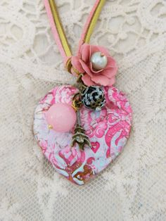 Mint Pink pastel shabby chic heart pendant handmade unique roses Paris romantic weekend away by TheEnglishEclectic on Etsy