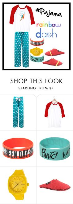 """""""Equestria Girls Rainbow Rocks: Rainbow Dash Pajama"""" by lucyapplecox ❤ liked on Polyvore featuring Camp Collection, My Little Pony, Nixon, Woolrich, Philipp Plein, pajama and slumberparty"""