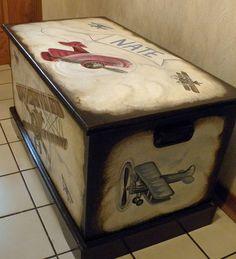 Vintage Airplane Toy Chest Custom Designed by originalsbybarbmazur, $289.00