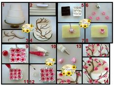 Amazing cake Dekoration and Looks not so difficult; Fondant Flower Tutorial, Cupcake Tutorial, Fondant Flowers, Sugar Flowers, Cake Flowers, Frosting Flowers, Fondant Cakes, Cupcake Cakes, Cupcakes