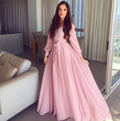 Long Sleeves V neckline Long Pink Chiffon Evening Dresses Prom Gown 1922 – Hijab Fashion 2020 Muslim Fashion, Hijab Fashion, Fashion Dresses, Fashion News, Women's Fashion, Chiffon Evening Dresses, Prom Dresses, Wedding Dresses, Sparkle Bridesmaid Dresses