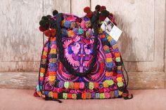 Pretty in pink tote handbag featuring pom poms. #ethniclanna #pinktotebag #totebag #handbag #largebags #pompoms #pinkbags #bagsforwomen