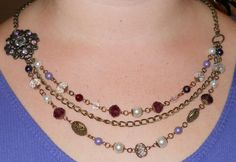 PRICE REDUCED! Pearl and Jeweled Renaissance 3 strand necklace by DragonsHordeJewelry, $35.00