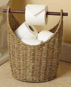 Toilet Paper Dispenser and Storage Magazine Rack Bathroom Seagrass Basket