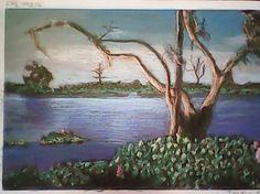 Pantanal, cena de pescaria, desenho a pastel seco por J. Carlos