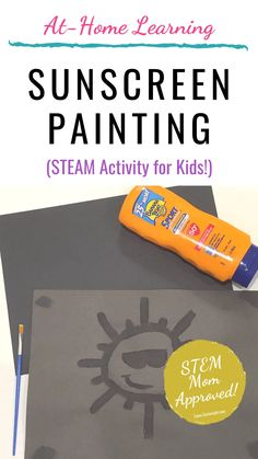 Sunscreen Painting: STEAM For Kids - Team Cartwright - - Sunscreen painting! Creative STEAM activity teaches the science of sunscreen and is a fun art project. Perfect for preschool, kindergarten, and all kids. Steam Activities, Preschool Learning Activities, Summer Activities For Kids, Preschool Summer Crafts, Outside Activities For Kids, Creative Activities For Kids, Preschool Projects, Science Projects, Educational Activities