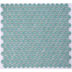 Wink - Aqua Turquoise Lyric Wafer Glazed Penny Round Tiles