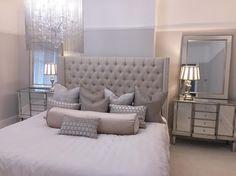 Love the mirrors over the night stands – Hazir Site Neutral Bedroom Decor, Gray Bedroom Walls, Romantic Bedroom Decor, Purple Bedrooms, Diy Home Decor Bedroom, Dream Bedroom, Master Bedroom, Mirror Bedroom, Bedroom Inspo