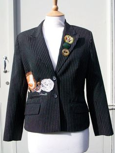 Customised Upcycled Black Women's Pinstripe by Queenieandted, £85.00