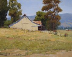 Although titled Napa Summer Fields, this looks just like a place in nearby Sonoma that I just loved and always thought it would be fun to paint. Kathleen Dunphy Oil ~ 16 x 20 House Landscape, Landscape Art, Landscape Paintings, Farm Paintings, Country Paintings, Birch Tree Art, Country Landscaping, Sky Art, Old Barns