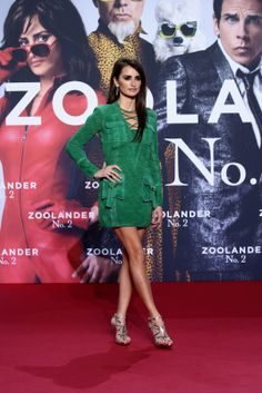 Green is definitely Penelope Cruz's color! The Spanish actress, 41, was drop-dead gorgeous in this green suede minidress with cargo pockets and laced details. A sleek 'do, smokey makeup and strappy, metallic sandals completed her sexy look. (Photo by Andreas Rentz/Getty Images for Paramount Pictures)                                     via @AOL_Lifestyle Read more: http://www.aol.com/article/2016/02/04/sexy-stars-penelope-cruz-and-eva-longoria-rock-super-hot-brigh/213076...