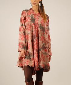 Love this Red & Raspberry Floral Shift Dress by Peace and Love on #zulily! #zulilyfinds