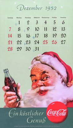 In this 1952 calendar from Germany, Santa holds a bottle of Coke. This simple image was recognised around the world, appearing on calendars, magazine ads, shop displays, billboards and more