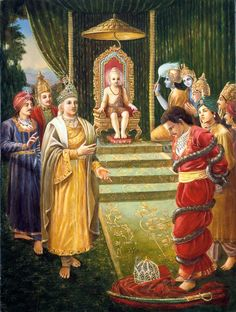 Garuda understood the desire of the Supreme Lord, and he therefore arrested Bali Maharaja with the ropes of Varuna and brought him before Vamanadeva. Krishna Lila, Krishna Art, Hare Krishna, Hindu Deities, Hinduism, Pagan Gods, Hindu Dharma, Lord Krishna Images, Epic Art