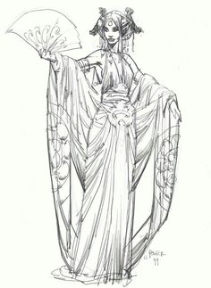 """Concept art of Padme Amidala in diaphanous Lake Gown from """"Star Wars Episode II Attack of the Clones"""" (2002)."""