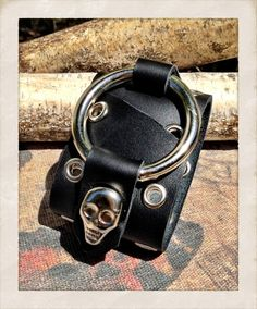 Black leather cuff bracelet with skull stud genuine by TornTo, $49.00