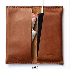 The KARD iPhone Wallet is a case and premium leather wallet in one. It is hand-stitched from genuine leather. With the iconic slope cut found in many iPhone 5.