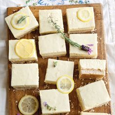 These aren't just any lemon bars. Ours lemon ice-box bars have hazelnuts, ginger, and mascarpone in addition to fresh lemon and lavender.