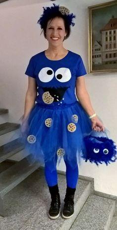 Krümelmonster cookiemonster, Cookie, selfmade Halloween Kostüm, Halloween Makeup, Halloween Costumes, Character Dress Up, Storybook Characters, Halloween Disfraces, Ladies Day, Country Girls, Harajuku