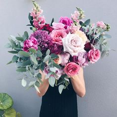 Special Occasion flowers and table garlands for entertaining A Few Fave Florists for Valentine's Day- giant mixed pink bouquet Amazing Flowers, Fresh Flowers, Beautiful Flowers, Flowers For Love, Tropical Flowers, Purple Flowers, Valentine Bouquet, Valentines Flowers, Baby Kranz