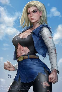 Android 18, Mirco Cabbia on ArtStation at https://www.artstation.com/artwork/JRkvD