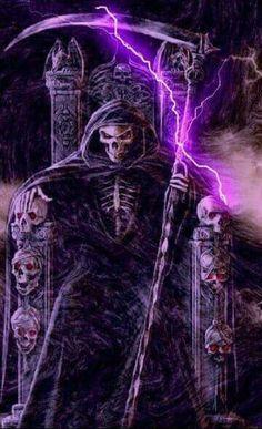 The Grim ( Green ) Reaper Death Reaper, Grim Reaper Art, Grim Reaper Tattoo, Don't Fear The Reaper, Dark Fantasy Art, Dark Art, Art Harley Davidson, Totenkopf Tattoos, Skull Pictures
