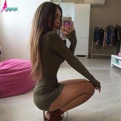 Gagaopt 2017 4 Colors Autumn Dress Sexy Mini Slim Office Dress Long sleeve Bandage Summer Dress