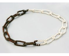 """Nolia Shakti Necklace: Two Spirited, 2009 Iron, AAA pearls, rust, steel, silver Collection """"Sexuality"""""""