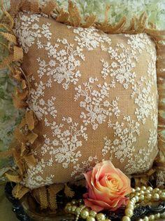 Handmade Burlap Lace Frayed Pillow OOAK. $30.00, via Etsy.