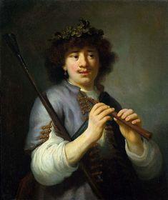 Govaert Flinck, Rembrandt als herder met staf en fluit , ca. 1636, olieverf op doek, 74.5 x 64 cm, Amsterdam Museum. Biografie Flinck: http://www.artsalonholland.nl/grote-meesters-kunstgeschiedenis/govaert-flinck