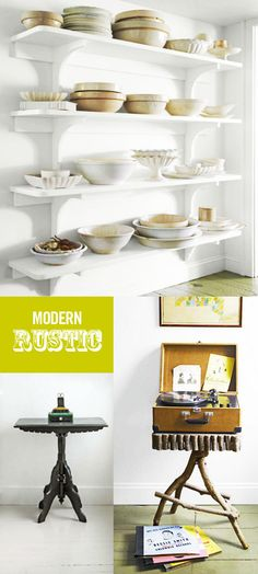 good example for the kitchen open shelving Rustic Style, Modern Rustic, Rustic White, White Wood, Interior Design Inspiration, Home Decor Inspiration, Country Living Magazine, Retail Interior, Kitchen Shelves