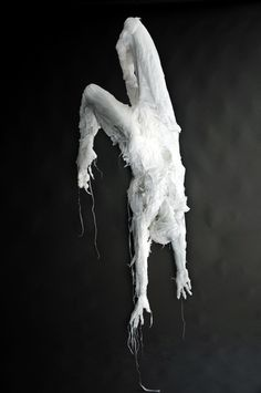 Discarded Plastic Bags Sculptures by Khalil Chishtee in plastics art  with Sculpture human Art