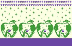 Vintage 1950's style border print Snow White Purple green apple fabric. Features Snow white and the Queen in an apple. Perfect for a novelty skirt!